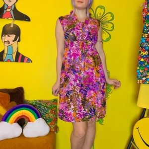 Vintage 60s psychedelic ruffled mini dress M/L